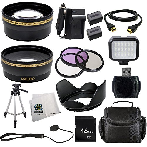 Advanced Accessories Kit for Sony Hxr-mc50u Hxrmc50u Mc-50u Advanced Accessories Kit for Sony Hxr-mc50u Hxrmc50u Mc-50u Mc50u Mc50 U Including 2x Extended Long Life Batteries + Ac/dc Rapid Home/car Charger + Wide Angle Lens + 2x Telephoto Lens + 3 Pcs Filter Kit + 16gb High Speed Sdhc Memory Card + Memory Card Reader + Video Light + Flower Tulip Lens Hood + Hdmi Cable + Deluxe Soft Carrying Case & More !!! + Video Light + Flower Tulip Lens Hood + Camera Hand Strap + Hdmi Cable + Deluxe Soft Carrying Case & More !!!