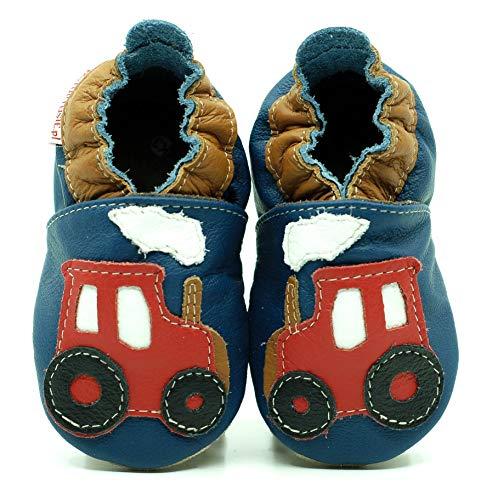 (Traktor, 27 EU) Lederpuschen Lederpatschen Lederschuhe Kinder Hausschuhe Kinderschuhe Kinderhausschuhe weiche Leder Krabbelschuhe Junge Mädchen Kleinkind Lederhausschuhe Puschen Lauflernschuhe