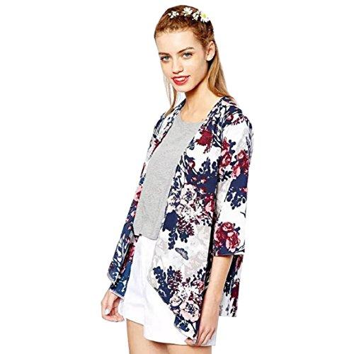 Culater® Las Mujeres De Moda De La Gasa De La Chaqueta Impresa Capa De La Rebeca Del Kimono (M)