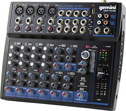 Gemini Sound GEM-12USB Equipo de audio profesional compacto giratorio de 12 canales en vivo música podcast Bluetooth USB DJ...