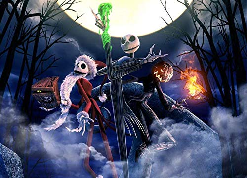 DIY Diamond Painting Jack Skeleton Halloween Full Square Drill Kits The Nightmare Before Christmas Cross Stitch Mosaic Art for Adults Relaxation and Home Wall Decor Festival Gift(20x16IN/50x40CM)