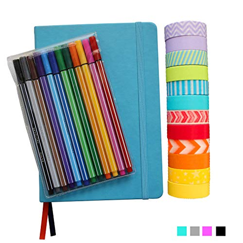 Bullet Dotted Journal Kit with Supplies - Turquoise A5 Hard Cover Dotted No-Bleed Page Notebook, 12 Fineliner Pens, 12 Washi Tapes - All-in-One Starter Set for Bullet Journals by Wonderful Washi