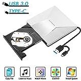 InThoor Lettore CD DVD Esterno per PC Mac Portatile USB 3.0 & Type C Masterizzatore CD DVD Esterno, Unità Ottica Esterna Compatibile con XP/Linux/Window98/Win7/WIN8/WIN10 Mac OS,MacBook Pro/Air