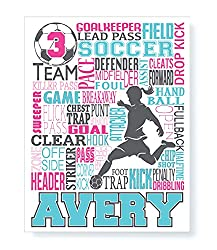 Soccer Typography Personalized Print in a Black Frame