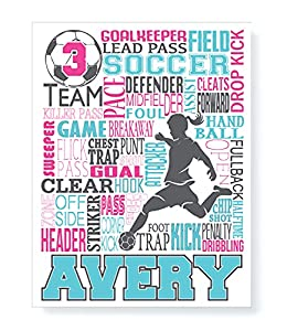 Image: Soccer Typography Personalized Print | PrintChicks Wall Art Decor Poster | Team Gift
