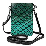 XCNGG bolso del teléfono Women Soft PU Leather Cellphone Purse Wallet Green Pastel Mermaid Fish Scale Handbag Small Crossbody Shoulder Bag Pouch for Travel Shopping Working