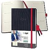 SIGEL C2209 Terminplaner Wochenkalender 2022 - ca. A6 - schwarz, rot - Hardcover - 176 Seiten - Gummiband, Stiftschlaufe, Archivtasche - PEFC-zertifiziert - Conceptum