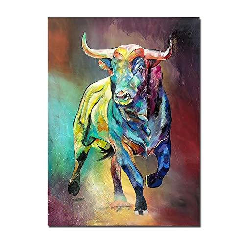 De La Lona Salon De Marco De La Colorido Colorido Animales Pared Arte Pinturas Acuarela Toro Cuadros Salon Recamara Decorativo Poster 50x70cm No Cartel