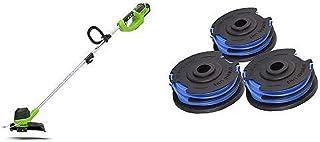 Greenworks Recortador césped de batería G40LT bobina doble rosca 3 piezas (Li-Ion 40V 30cm ancho corte 7000rpm Cabezal motor rotatorio e inclinable barra guía Aluminio No Incluye batería ni cargador)