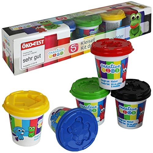 TW24 Knete Set 5x140g mit integriertem Förmchen Spielknete Kinderknete Knetset Knetmasse