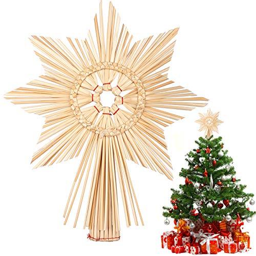 EKKONG Baumspitze Stern, Baumspitze Weihnachten aus Stroh Natur Christbaumspitze Weihnachtsbaumspitze Handgemachter Weihnachtsbaumschmuck für Jeder Größe Weihnachtsbäume