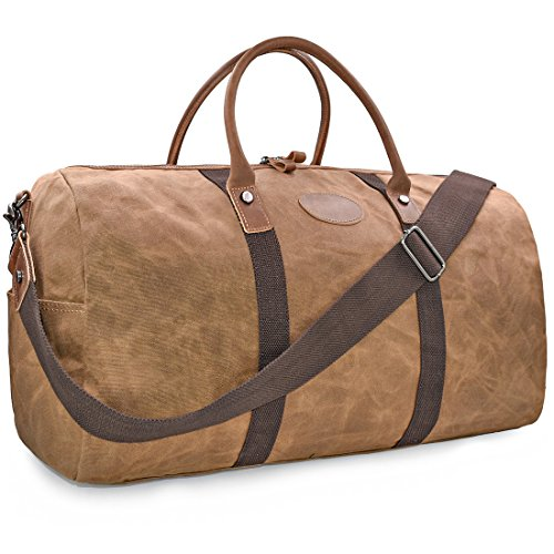 Mens Travel Duffle Weekend Overnight Bag Waterproof Vintage Canvas Genuine Leather Holdall Satchel Totes Bag Brown