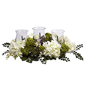 Nearly Natural 4806 Snowball Hydrangea Triple Candelabrum Color White Christmas Decoration