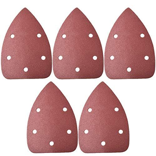 Papel de lija para lijadora minorista, papel de lija triangular, almohadillas de lija con ganchos y hebillas, multioscilante triangular, 150 granos 5 agujeros, 5 unidades