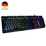Horsky Gaming Tastatur mechanisches Gefühl Chroma RGB Beleuchtung und Vollhohen Tastenkappen Ergonomischen Design Business&Gaming-Tastatur, QWERTZ, Deutsche Layout