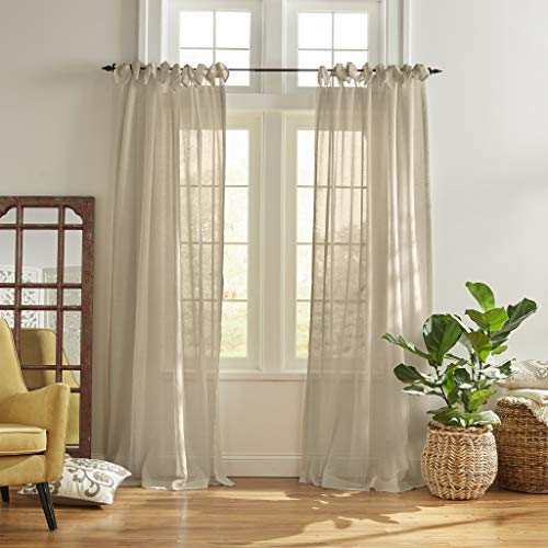 "Elrene Home Fashions Vienna Tie-Top Sheer Window Curtain Panel, 52"" x 84"" (1, Flax"