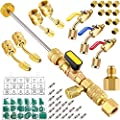 Mudder R410A Valve Core Remover Kits 7 Air Conditioning Refrigerant Angled Compact Ball Valve with SAE 1/4 and 5/16 Port R410 R32 Brass Adapter 20 Valve Cores 10 Brass Nut 270 Sealing Washer