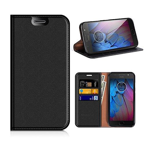 MOBESV Motorola Moto G5S Hülle Leder, Motorola Moto G5S Tasche Lederhülle/Wallet Hülle/Ledertasche Handyhülle/Schutzhülle mit Kartenfach für Motorola Moto G5S - Schwarz