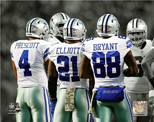 Ezekiel Elliott Dak Prescott Dez Bryant Dallas Cowboys Spotlight Action Photo (11' x 14')