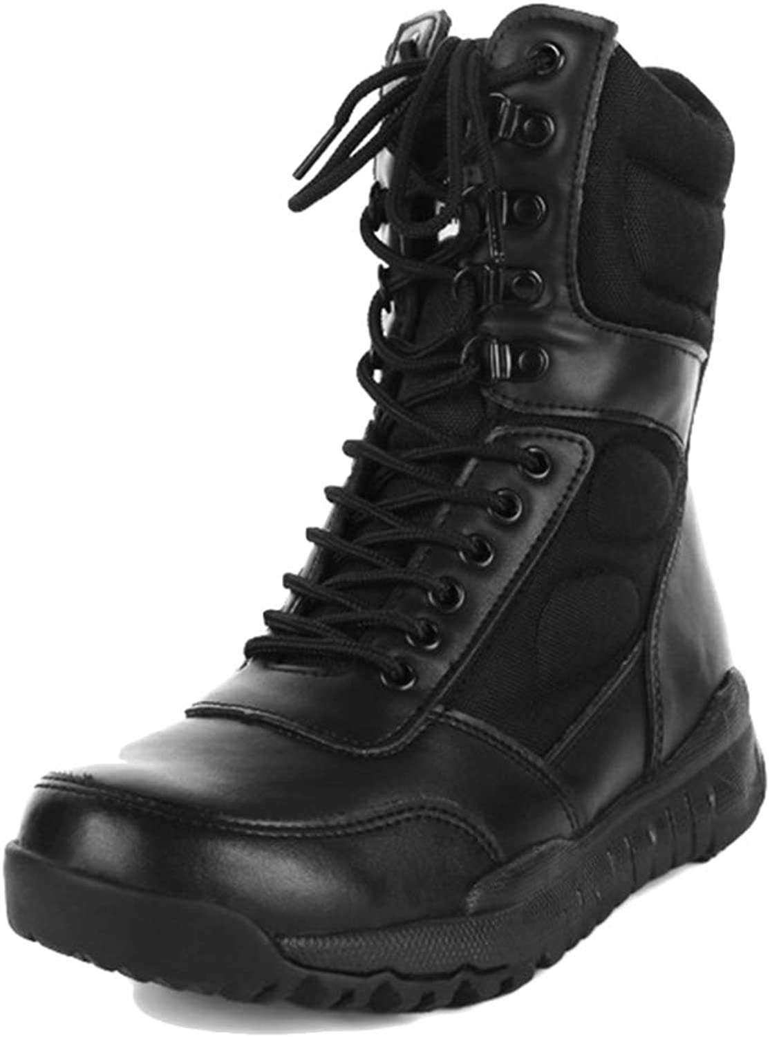 Souy Mens Leather High Tops Combat Boots Outdoor Tactical Boots For Riding Lace Ups Amry Military Boots Hiking Camping Desert Boots