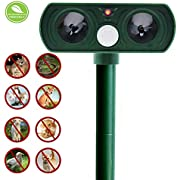 Fomei Best Ultrasonic Animal Repeller, Solar Powered Pest Repeller, Waterproof Outdoor Repellent with Motion Activated PIR Sensor, Repel Dogs, Cats, Squirrels and more