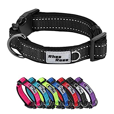 Rhea Rose Reflective Dog Collar, Soft Comfortable Neoprene Padded Nylon Dog Collars, Thick and Wide for Small Medium Large Dogs Black Small