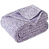 KAWAHOME Summer Knit Blanket Lightweight Soft Breathable Cozy Fuzzy Heather Jersey Comfortable Thin Blanket for Couch Sofa Bed Twin Size 66X90 Inches Purple and White