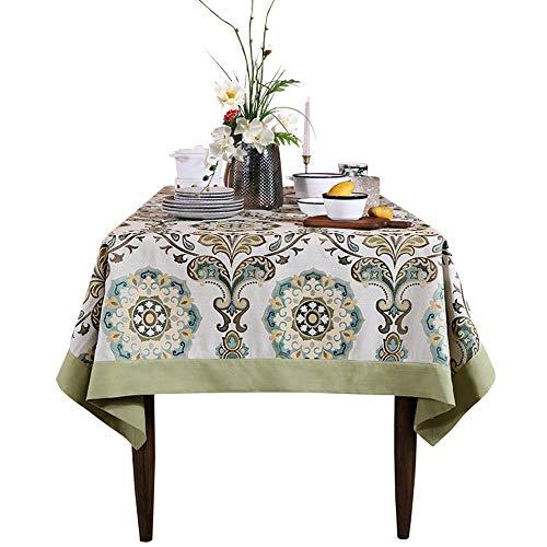 FENDOUBA Tafelkleden Katoenen Rechthoekig Tafelkleed Hibiscus Bloeiende Patroon Tafelkleed voor Tv-meubel Salontafel Eettafel Decor (Size : 150X200cm)