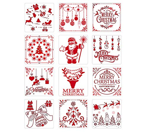 Meikeer 12 Pcs Christmas Stencils Template Reusable Plastic Craft for Art Drawing Painting Spraying Window Glass Door Car Body Wood Journaling Scrapbook Holiday Xmas Snowflake DIY Decoration 5x5 inch