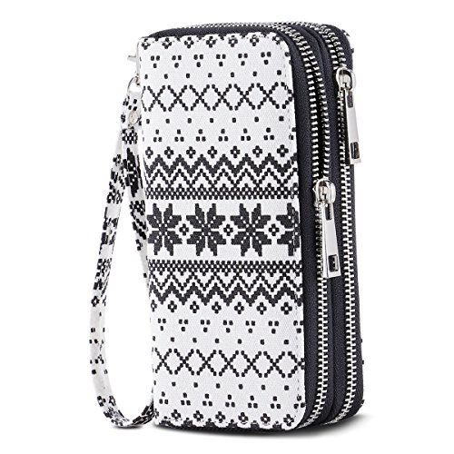 Image of the HAWEE Cellphone Wallet Dual Zipper Wristlet Purse with Credit Card Case/Coin Pouch/Smart Phone Pocket Soft Leather for Women or Lady, White-Black Snowflake