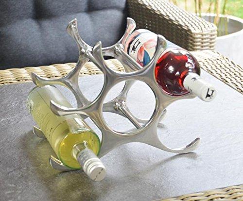 Weinregal Flaschenregal Flasche Aluminium Silber Luxus - Weinständer, Regal Modern aus Metall - 22 cm