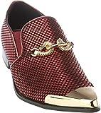 cristiano5 Mens Slip-On Fashion-Loafer Sparkling-Glitter Metal-Tip Burgundy Dress-Shoes Size 8