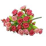 I LOVE DIY 21Pcs Bouquet de Rose Fleurs Artificielles Mariage Demoiselle d'honneur Decoration Maison Deco (Rose)