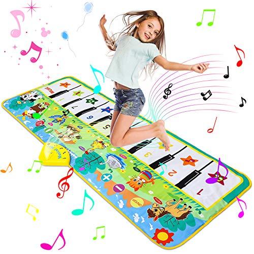 Luchild Piano Mat Tanzmatten Klaviermatte 130 x 48cm Musikmatte Pianomatte 8 Tierstimmen Klaviertastatur Spielzeug Musik Matte, Keyboard Matten Spielteppich für Kinder