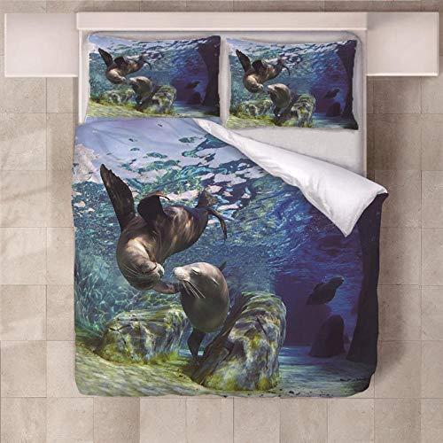 PERFECTPOT Duvet Cover Set Double Size Blue Ocean Dolphin Pattern 3 pcs with Zipper Closure Microfiber Printed Duvet Cover Quilt Bedding Set with 2 Pillowcases, 200 x 200 cm