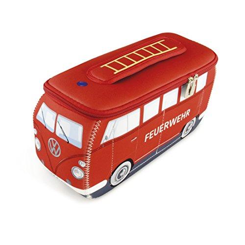 BRISA VW Collection - Volkswagen T1 Bulli Bus Universal-Schmink-Kosmetik-Kultur-Reise-Hausrats-Tasche-Mäppchen-Beutel (Neopren/Feuerwehr/Rot)