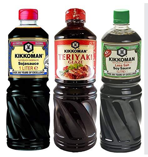 Salsa de soja Kikkoman - 1000 ml / 1 litro - 43% menos de sal + Salsa de soja Kikkoman - 100ml / 1 litro + Salsa Teriyaki Kikkoman 975 ml