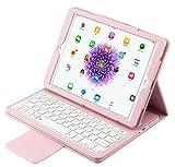 iPad Pro 9.7Bluetooth Teclado cartera funda–IVSO–Teclado Bluetooth desmontable atril caso/cubierta para iPad Pro 9.7Inch Tablet (rosa)