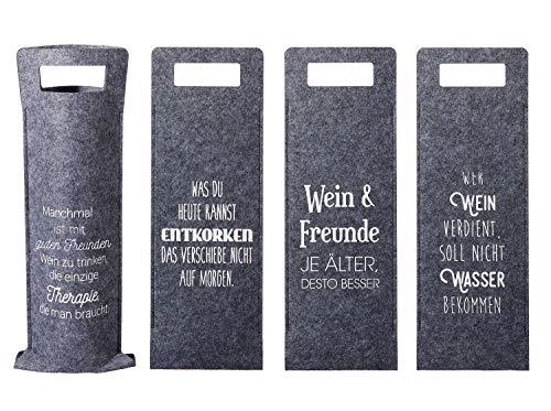 4 Stück Filz Flaschentüte Weintasche Grau