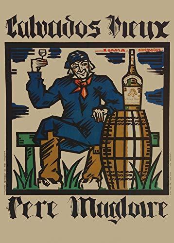 Vintage bieren, wijnen en sterke drank 'Calvados Vieux', door Jean A. Mercier, 1920, 250gsm Zacht-Satijn Laagglans Reproductie A3 Poster