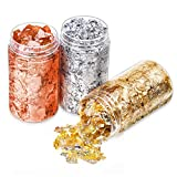 Gold Foil Flakes for Resin, Paxcoo Imitation Gold Foil Flakes Metallic Leaf for Nails, Painting, Crafts, Slime and Resin Jewelry Making (Gold, Silver, Copper Colors)