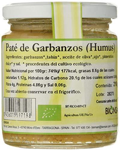 Bionsan Pate de Garbanzos Humus - 6 Paquetes de 210 gr - Total: 1260 gr