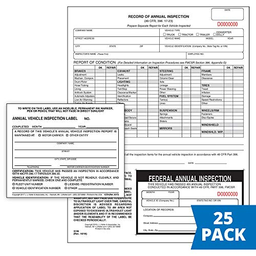 Record of Annual Inspection Report with Inspection Decal (Continuous Format, 2-Ply Carbonless, 9.5