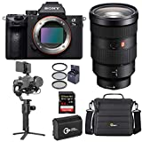 Sony Alpha a7 III 24MP UHD 4K Mirrorless Camera with FE Vario-Tessar 24-70mm f/4 ZA Lens - Bundle with DJI Ronin-SC Gimbal Stabilizer Pro Combo, 64GB SDXC Card, Camera Case, Spare Battery, Filter Kit