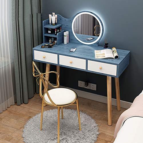 Massivholz-Waschtisch mit LED-beleuchtetem Spiegel, Make-up-Waschtisch mit Touchscreen-Dimmspiegel, 3 Farbbeleuchtungsmodi 3 Schubladen Kommode und gepolsterter Hocker - Weiß