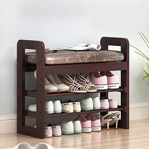 HZY Shoe Rack Wood Organiser Stand Small 2 Tier Shelf Bench With Seat Box Storage Cabinet/Sonoma Oak Effect Cushion (Color : 2 layers-71X60X30cm),Colour:2 Layers-71x60x30cm