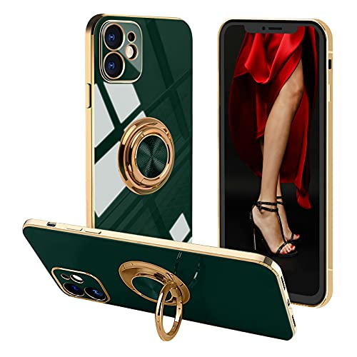 Voyazap Compatible with iPhone 12 Ring Holder case - pop Women Girls case with Built-in Metal Magnetic Sheet and 360 Degree Rotation Kickstand for iPhone 12 (6.1 Inch) (Teal)