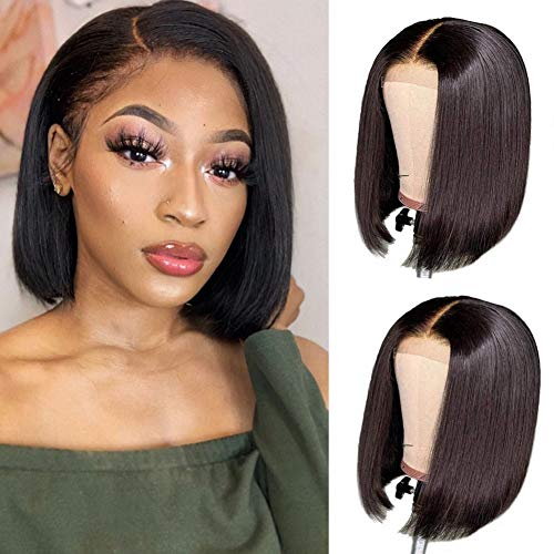 Brazilian Virgin Straight Bob Lace Front Wigs Human Hair Wigs for Black Women Glueless Pre Plucked with Baby Hair Short Bob Straight 4x4 lace closure Wig (8 inch, 150% Density)