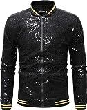 Sportides Men's Sequins Metallic Nightclub Shiny Slim Fit Varsity Baseball Bomber Zip Up Jacket JZA469 Black L