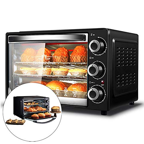 WUFENG Automatic Mini Oven With Hob and Grill, 32L Electric Oven multifunction baking machine, 1500W Three-layers Cake Pizza Oven, for Baking Cooking Grilling Roast